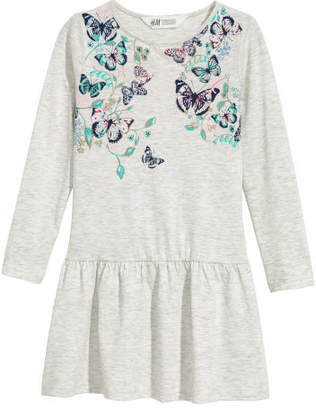 H&M Jersey Dress with Motif - Gray