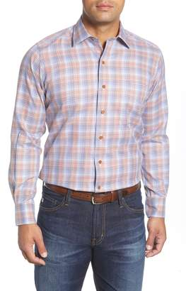 David Donahue Regular Fit Houndstooth Check Button-Up Shirt