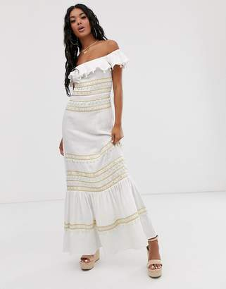 Asos Design DESIGN shell and mirror embroidered maxi sundress