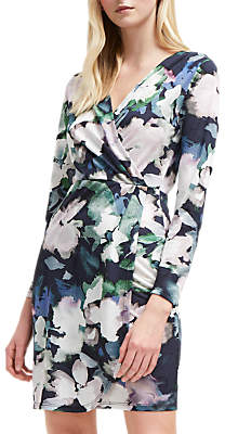 French Connection Jersey Wrap Watercolour Print Dress, Utility Blue/Multi