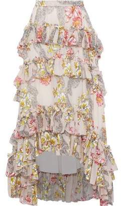 Philosophy di Lorenzo Serafini Tiered Floral-print Cotton And Silk-blend Skirt
