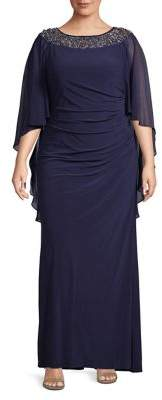 Xscape Evenings Plus Chiffon Cape Embellished Gown