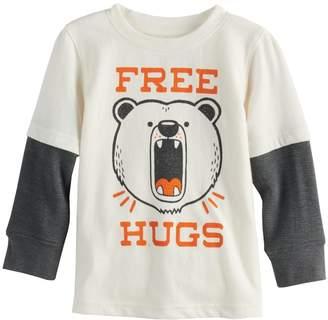 "Baby Boy Jumping Beans ""Free Hugs"" Bear Mock Layer Graphic Tee"