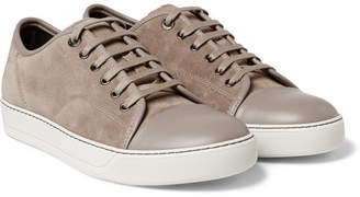 Lanvin Cap-Toe Suede and Leather Sneakers - Beige