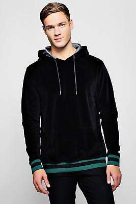 boohoo NEW Mens Velour Over The Head Hoodie With Sports Rib in Cotton