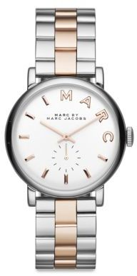 Marc by Marc Jacobs Baker Rose Goldtone & Silvertone Stainless Steel Logo Bracelet Watch $225 thestylecure.com