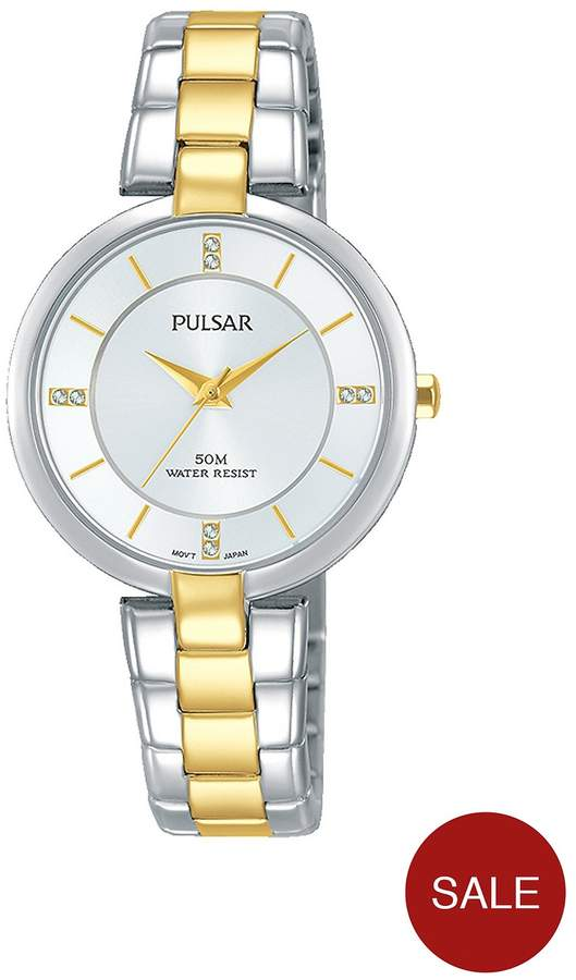 Two Tone Stainless Steel Bracelet Silver Dial Ladies Watch