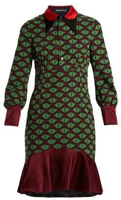 Undercover Eye Print Reversible Silk Dress - Womens - Green Multi