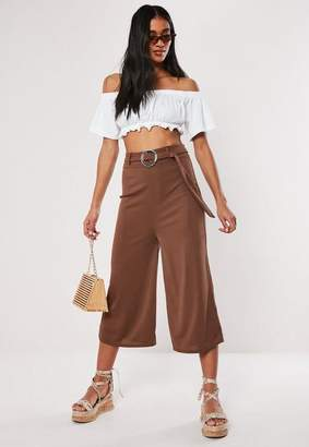 Missguided Brown Rib Wide Leg Cropped Trousers, Brown