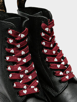 Dr. Martens New Womens Unisex Heart 8 10 Eye Laces In Red Oxblood Boots