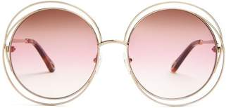 Chloé Carlina Round Frame Sunglasses - Womens - Pink Multi