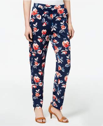 Monteau Petite Floral-Print Pants