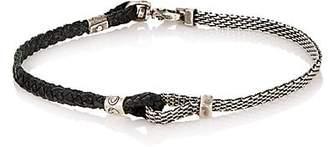 Title of Work Men's Adjustable Silver & Leather Bracelet - Silver