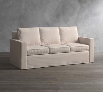 Pottery Barn Cameron Square Arm Slipcovered Sleeper Sofa With Memory Foam Mattress
