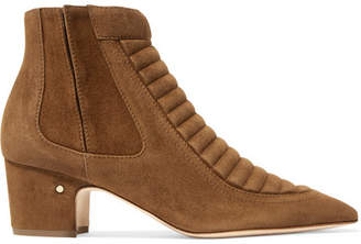 Laurence Dacade Sully Quilted Suede Ankle Boots - Camel