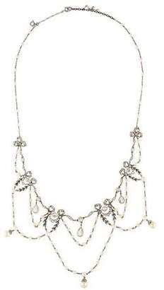 Diamond & Pearl Festoon Necklace