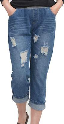 Wofupowga Womens Casual Washed Ripped Holes Pull-On Denim Capri Jeans