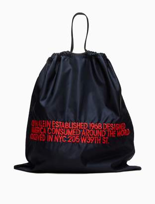 Calvin Klein oversized embroidered drawstring pouch
