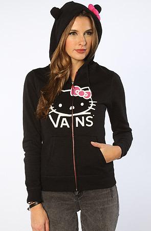 Vans The x Hello Kitty All Ears Zip Hoody in Black