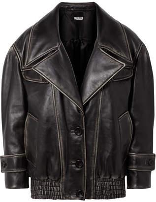 Miu Miu Oversized Leather Jacket - Black