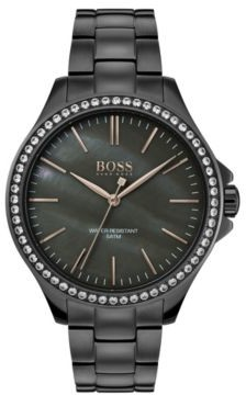 BOSS Grey-plated watch with crystal-trimmed mother-of-pearl dial