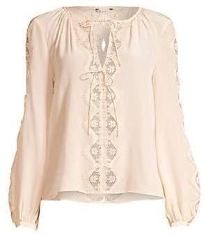 Joie Women's Bernabas Lace & Silk Blouse