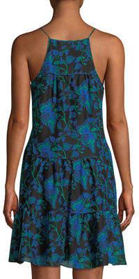 Diane von Furstenberg Baylee Mixed-Dot Tiered Sleeveless Dress