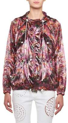 Isabel Marant Olaz Hawaiian-Print Sheer Pullover Hooded Anorak Jacket