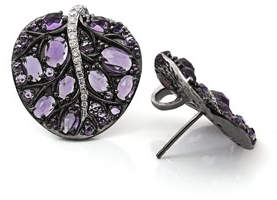 Michael Aram Botanical Leave Amethyst & Diamond Earrings