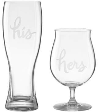 Kate Spade His & Hers Set Of 2 Crystal Beer Glasses