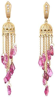 One Kings Lane Vintage Pink Tourmaline Diamond Fringe Earrings - Precious & Rare Pieces