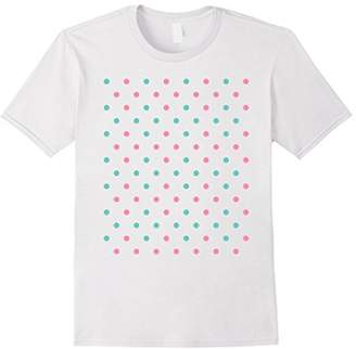 Pink and turqouise polka dot tee t shirt cute and comfy