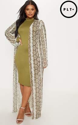 PrettyLittleThing Plus Taupe Mesh Snake Print Maxi Kimono