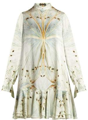 Alexander McQueen Butterfly Print Silk Mini Dress - Womens - V626