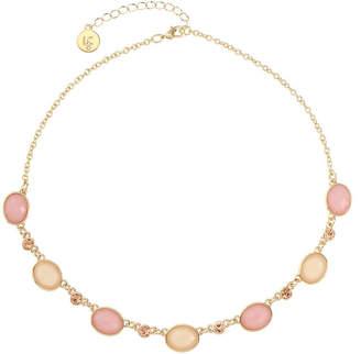 Liz Claiborne Womens Pink Oval Collar Necklace
