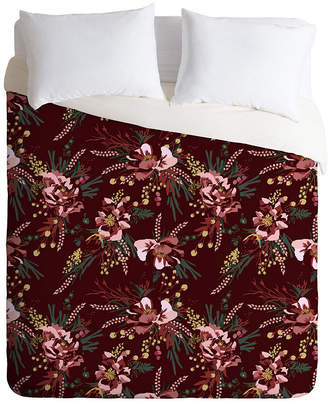 Deny Designs Holli Zollinger Poppy Wild Burgundy Queen Duvet Set Bedding