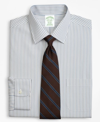 Brooks Brothers Milano Slim-Fit Dress Shirt, Non-Iron Framed Stripe