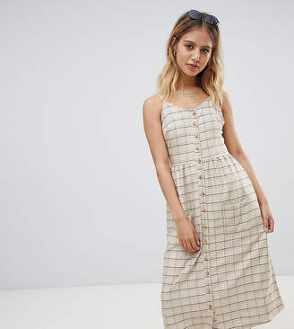 Daisy Street button through midi sundress with pockets in vintage check