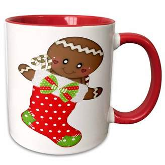 3dRose Cute Red Polka Dot Christmas Stocking With A Gingerbread Man - Two Tone Red Mug, 11-ounce