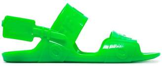 Off-White fluorescent green Zip Tie jelly sandals