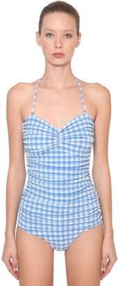 Ganni Seersucker One Piece Swimsuit