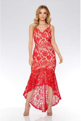 Quiz Red And Nude Crochet V Neck Strap Dress