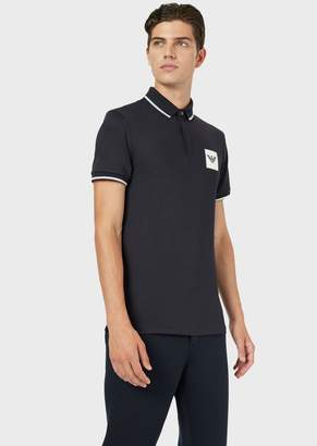 Emporio Armani Jersey Polo Shirt With Stitched Logo Patch