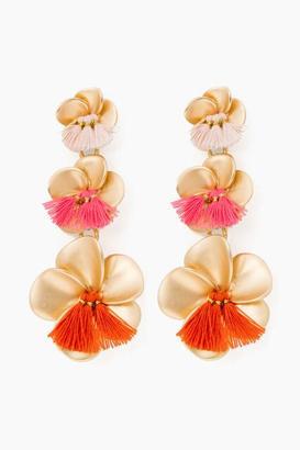 Gold Triple Floral Drop Earrings $88 thestylecure.com