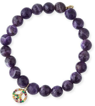 Sydney Evan 8mm Amethyst Beaded Bracelet with Rainbow Sapphire Peace Charm
