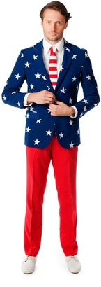 DAY Birger et Mikkelsen Opposuits Men's OppoSuits Slim-Fit Stars & Stripes Suit & Tie Set