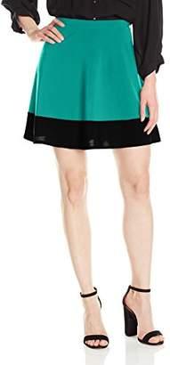 Star Vixen Women's Stretch Ity Colorblock Hem Swingy Full Skater Skirt,S