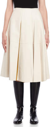 Jil Sander Leather Pleated Midi Skirt