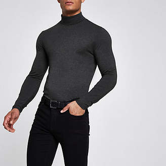 River Island Grey muscle fit roll neck T-shirt