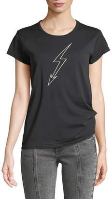 Givenchy Lightning-Bolt World Tour Crewneck Short-Sleeve Cotton Jersey T-Shirt